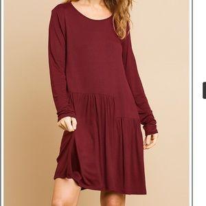Umgee Wine Fall Thanksgiving Long Sleeve Dress